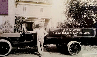 Amandus D. Moyer with truck